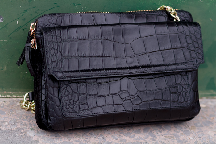 Croco engraved leather Bag with golden chains by Zara online Sales