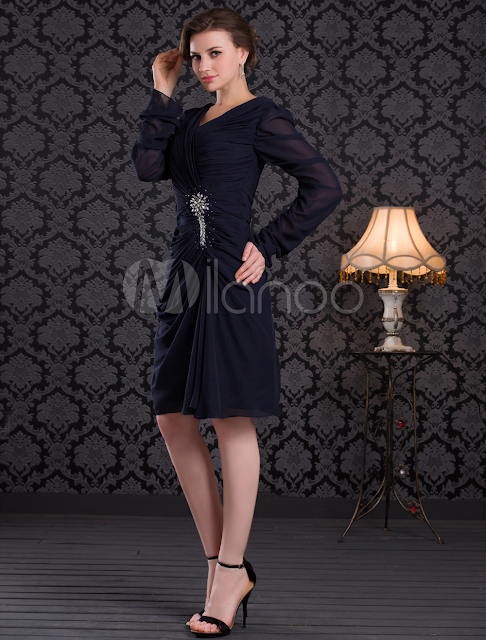 China Wholesale Clothes - Deep Navy V-neck Pleated Beading Chiffon Mother of the Bride Dress
