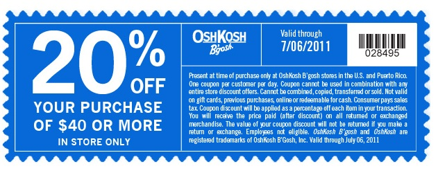 image relating to Osh Coupons Printable named Osh kosh on the internet coupon - Lincoln middle nowadays occasions