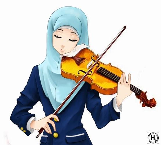 Muslimah, cute, violin