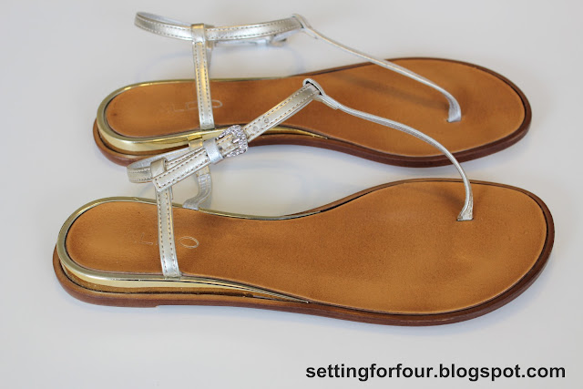 Sandals Before adding DIY Flower Clips from Setting for Four #diy #easy #clip #shoe