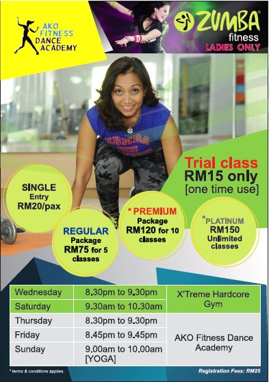 ZUMBA & YOGA Class for LADIES ONLY Just Walk In on Any Days [012 2905653]