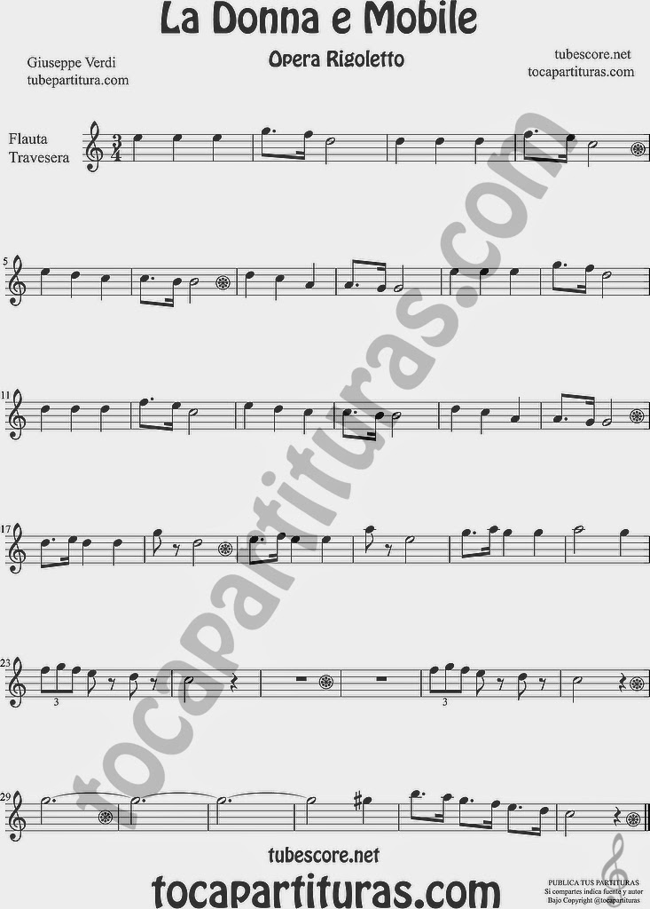 La Donna e Mobile Partitura de Flauta Travesera, flauta dulce y flauta de pico Sheet Music for Flute and Recorder Music Scores Ópera Rigoletto by G. Verdi