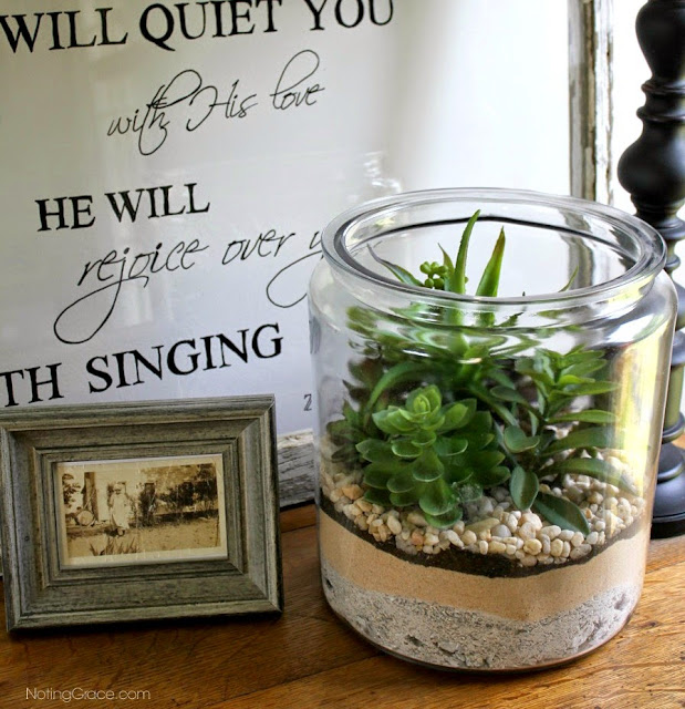 Noting Grace: DIY Faux Succulent Garden for $25   Allergies prevented Jen from having a real succulent garden, but that didn't stop her dreams. You'd never know these plants were fake!