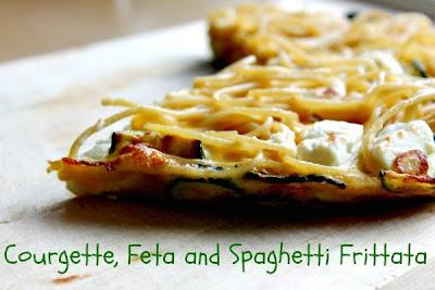 Courgette, Feta and Spaghetti Frittata
