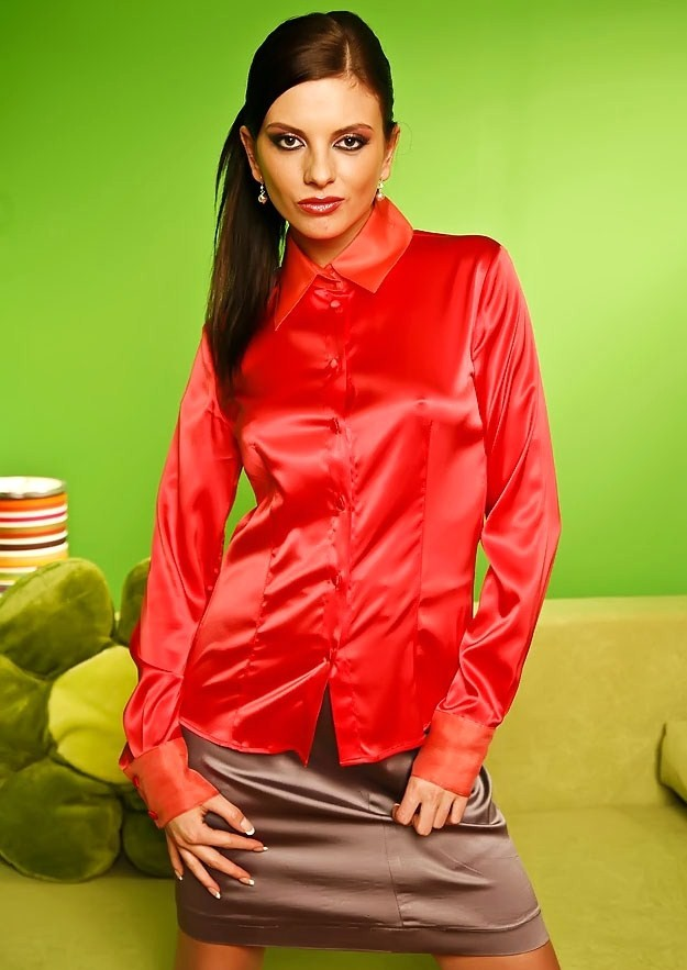 Women'S Red Satin Blouse 106
