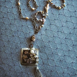 SavageBits Mother of Pearl Medallion with Shells & Vintage Charms.
