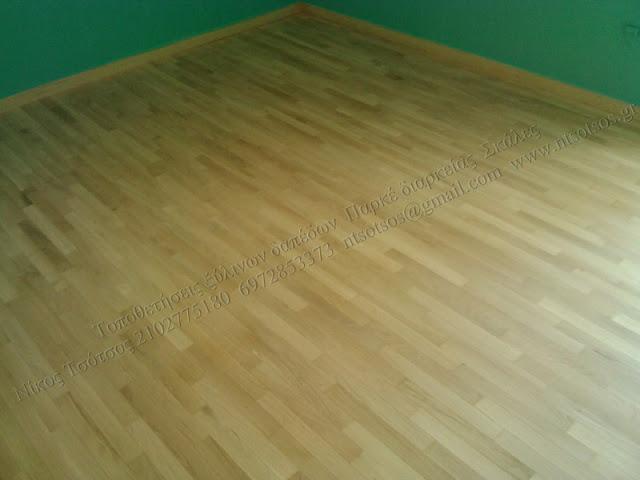 Βάψιμο δρύινου ξύλινου πατώματος σε άσπρο χρώμα