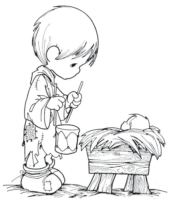 coloring-page-precious-moments-little-drummer-boy-baby-Jesus-coloring  title=