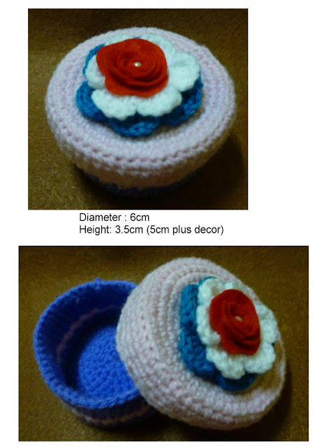 Crochet purple cake container with lid amigurumi flower felt pattern