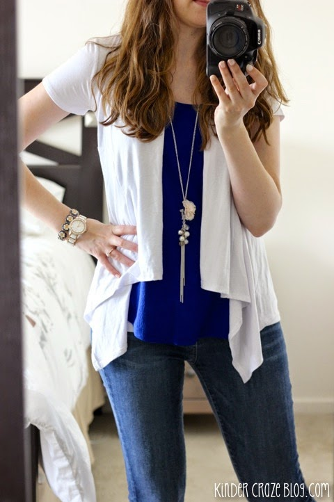 Stitch Fix white Bryan Short Sleeve Open Front Cardigan from 41Hawthorn paired with royal blue Pomelo tank and denim