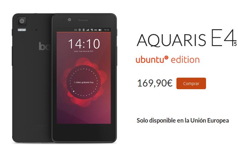 Bq Aquaris E4.5 Ubuntu Edition otra vez se puede comprar , bq aquaris e4.5 comprar