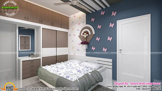 Kids bedroom interior in Kerala