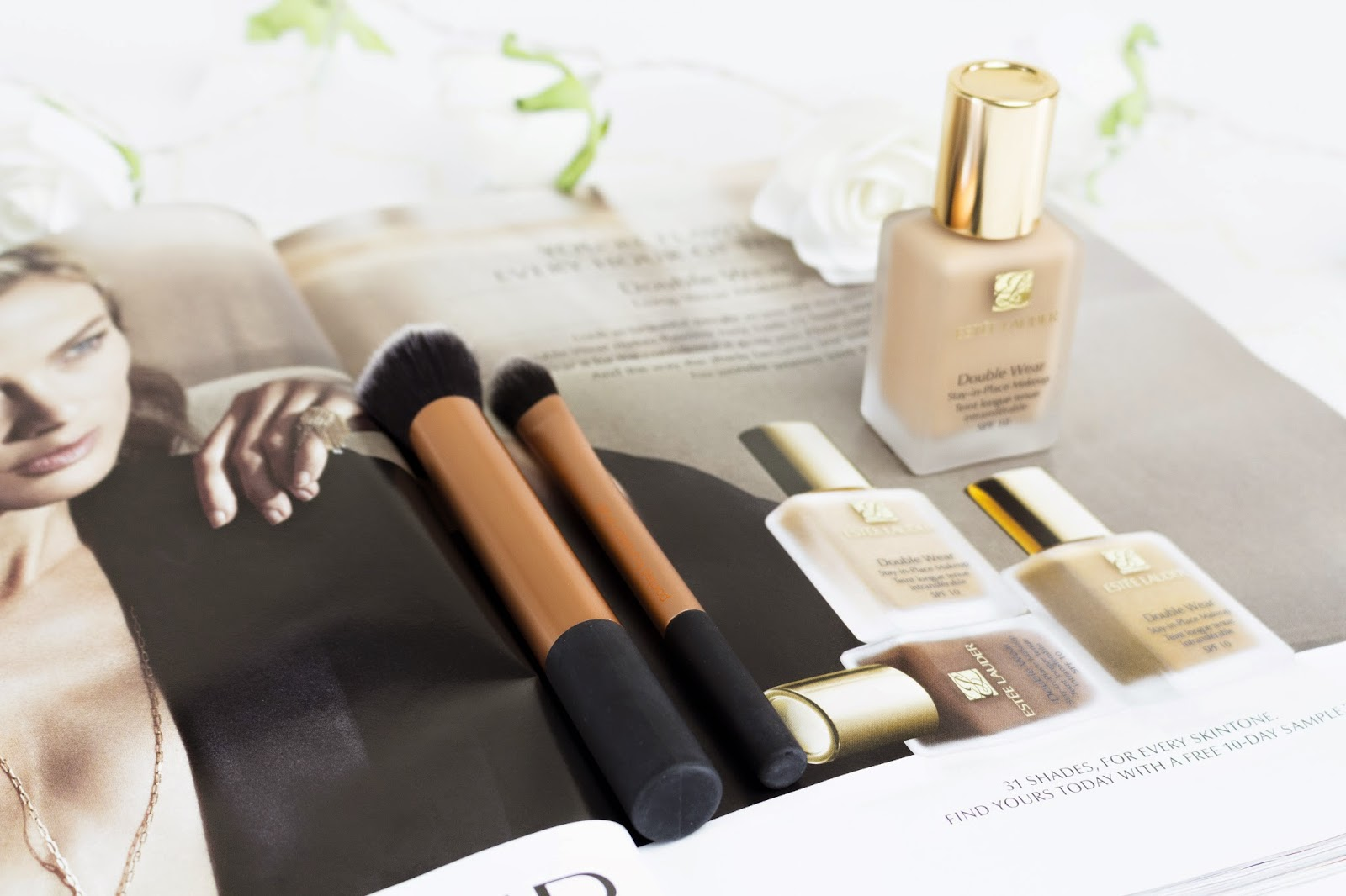 how to apply double wear foundation with a brush