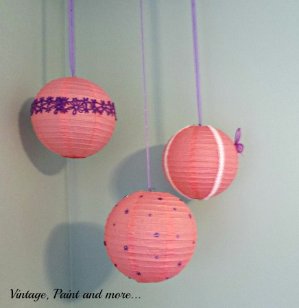 Vintage, Paint and more...paper lanterns upcycled with scrapbook supplies