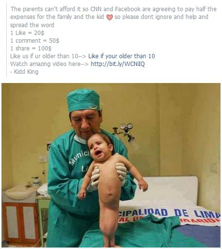 Facebook likes for charity hoax