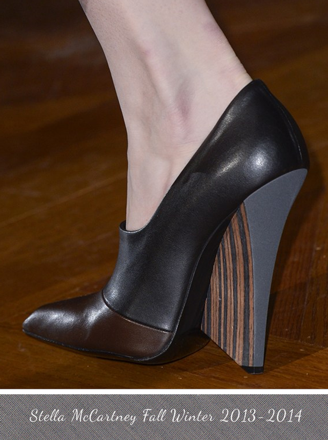 Stella McCartney Wooden Wedge Runway Shoe Fall Winter 2013 - 2014