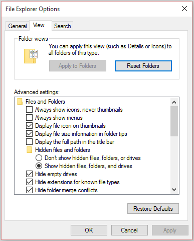 Showing the options to be selected for seeing/finding hidden files and folders in Windows Machines.