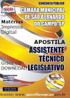 Apostila concurso Câmara SBC 2015  São Bernardo (SP) Assistente Técnico Legislativo - CMSBC.
