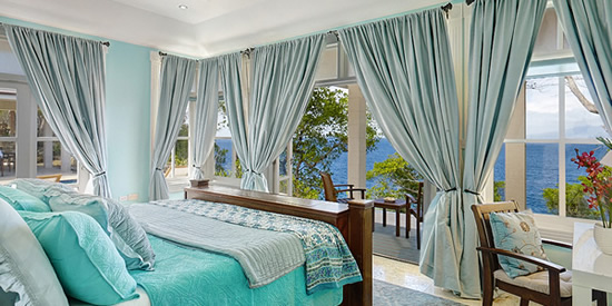 Luxuriously finished bedroom suites with sea views
