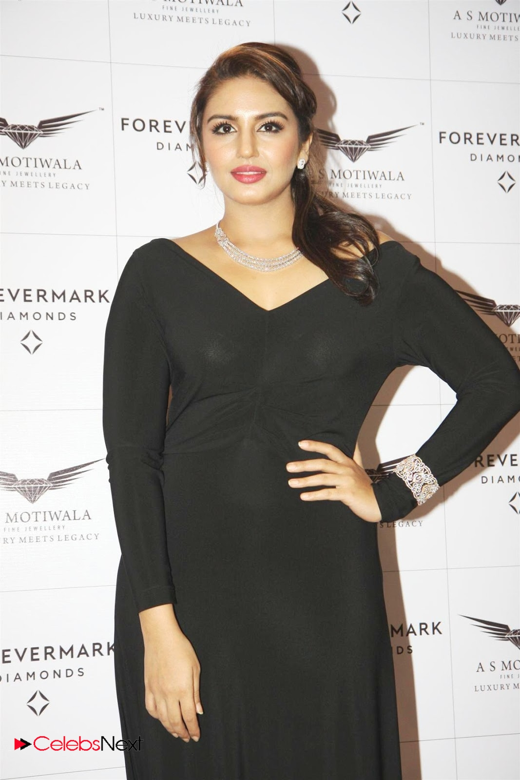 Huma Qureshi Photos In Black Long Dress At Encordia Collection By