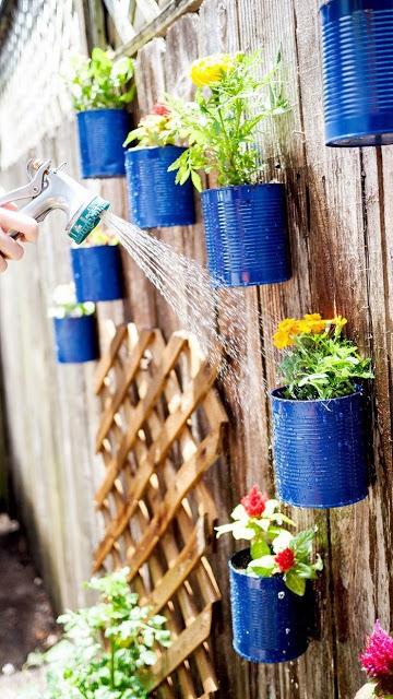 Transform Empty Backyard :  projects 35 unique ideas to transform empty tins into wonderful pots
