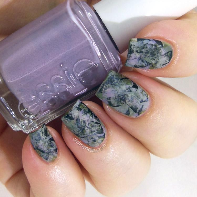 matte grunge brushstroke manicure