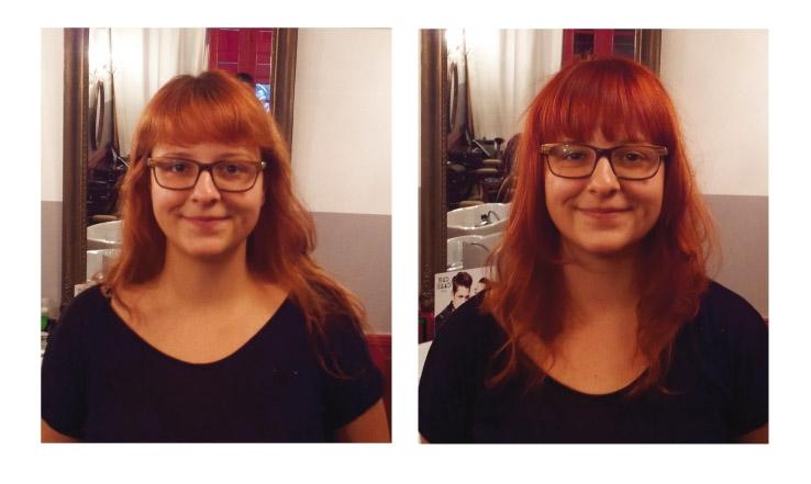 marie de face avant et aprs visite au studio 54 coiffure et couleur - Coiffeur Coloriste Montpellier