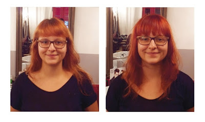 Marie, de face, avant et après visite au Studio 54, coiffure et couleur réalisées par Eddy, coiffeur - visagiste à Montpellier.