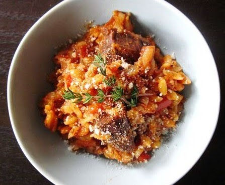 Giouvetsi (barley shaped pasta) with beef, Mediterranean Diet, Santorini recipe,