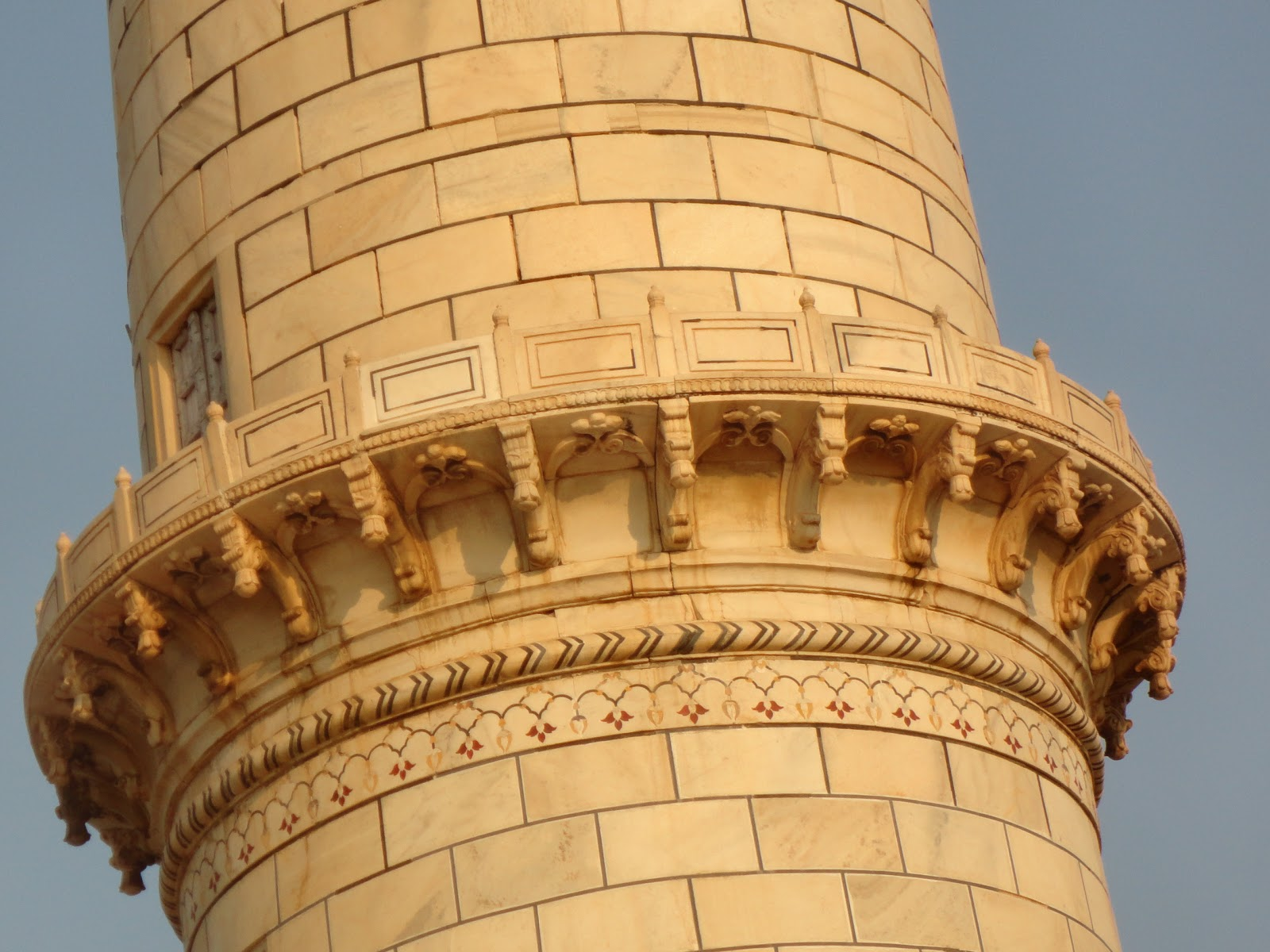 Marble Sculptures on Minarets of The Taj Mahal
