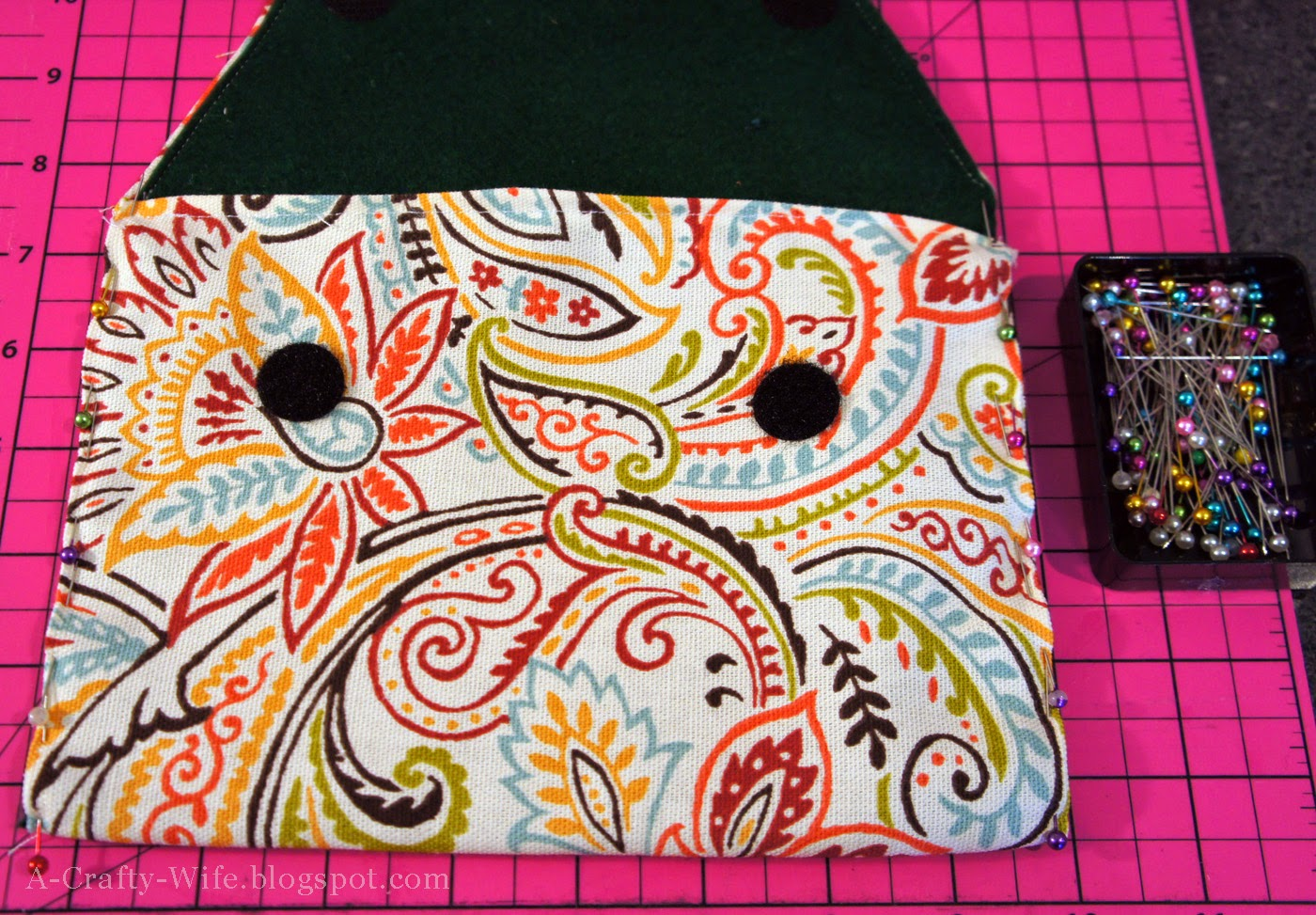 Pin your iPad case closed and sew carefully | A Crafty Wife