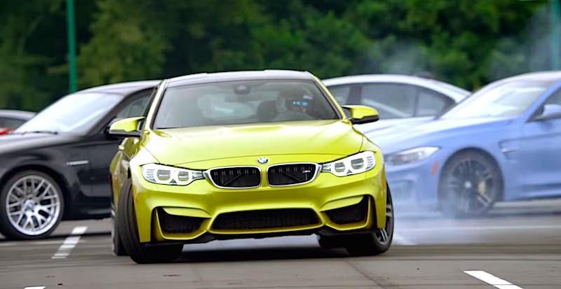 【動画】BMWのMモデルで作られた「Mロゴ」型コースでM4がドリフト!