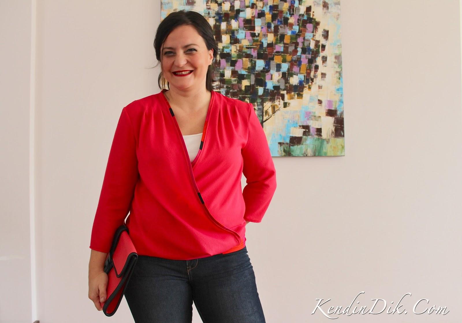 kırmızı bluz, envelop bluz, wrap bluz