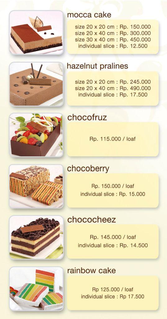 Daftar Harga Kue di DapurCokelat.Com