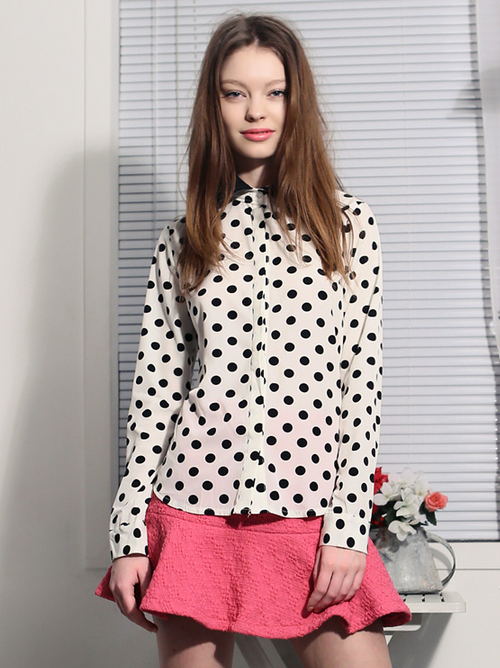 Polka Dot Leather Collar Blouse