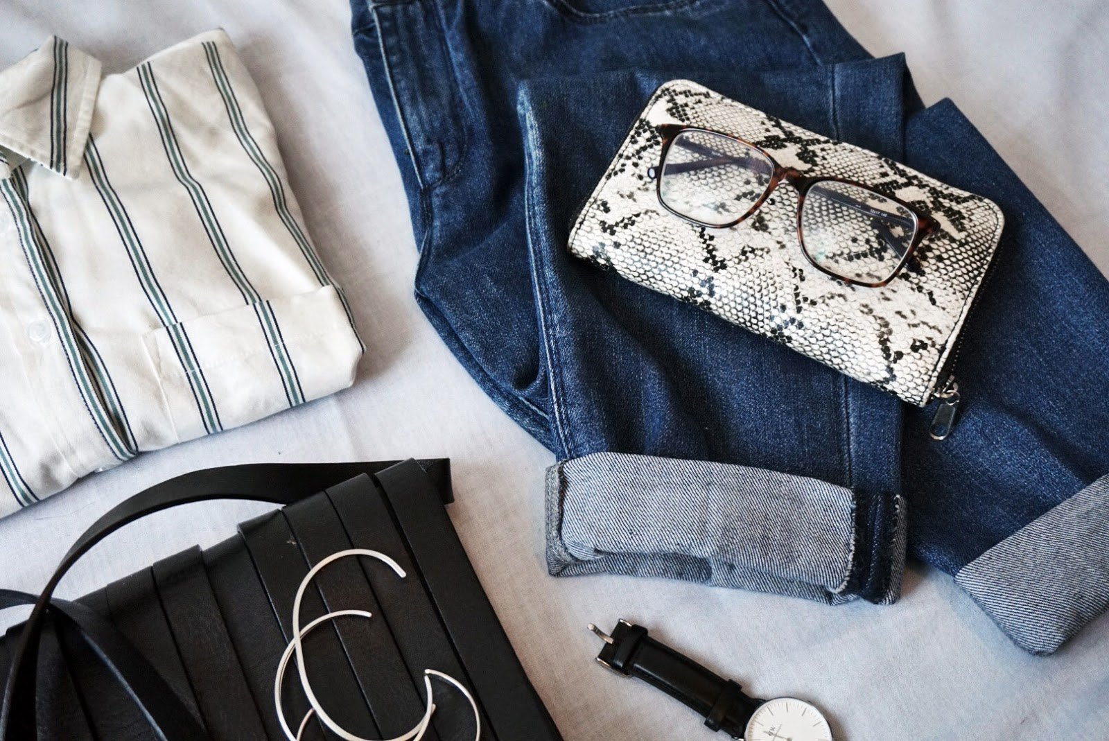 Striped shirt flat lay outfit