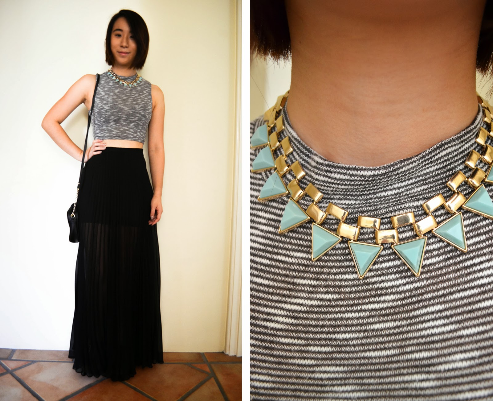 monochromatic black crop top urban outfitters stripes necklace forever 21 gold pop of colour chiffon maxi skirt black