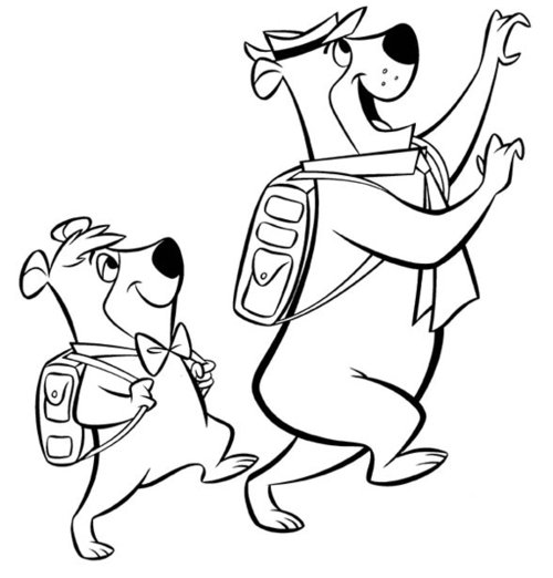 Yogi Bear And Boo Boo Coloring Pages Free For Kids title=