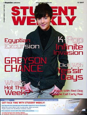 Greyson Chance on the cover of Student Weekly 2012