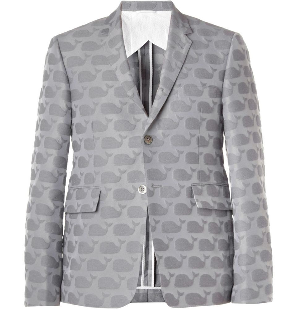 00O00 Menswear Blog Jonathan Ross in Thom Browne WHALE-PATTERNED COTTON-BLEND BLAZER - Jameson Empire Awards 2013 London