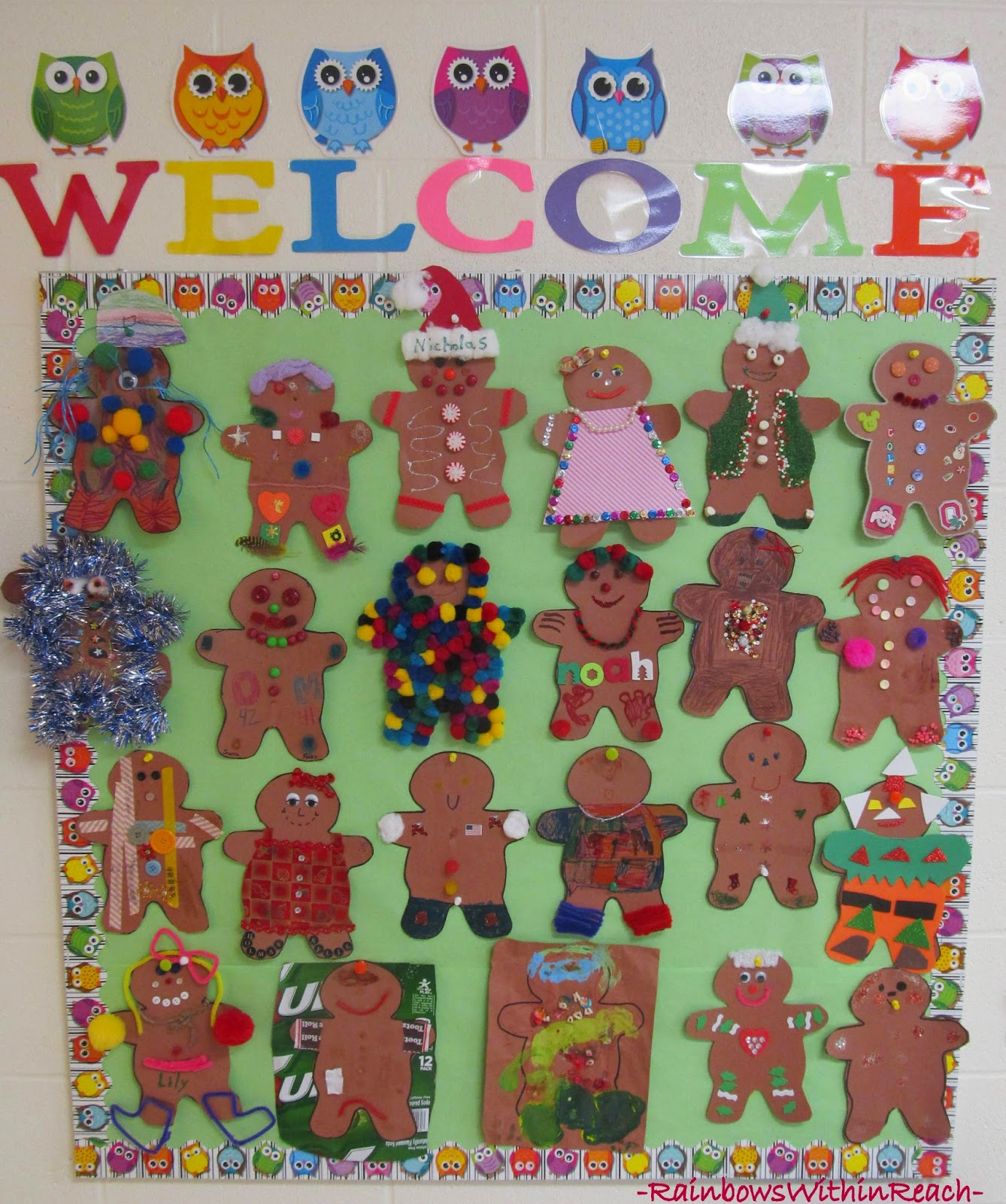 Christmas Bulletin Board: Disguised Gingerbread Men at RainbowsWithinReach
