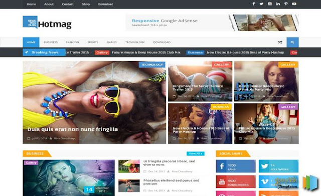 Download - Hotmag Responsive Blogger Template