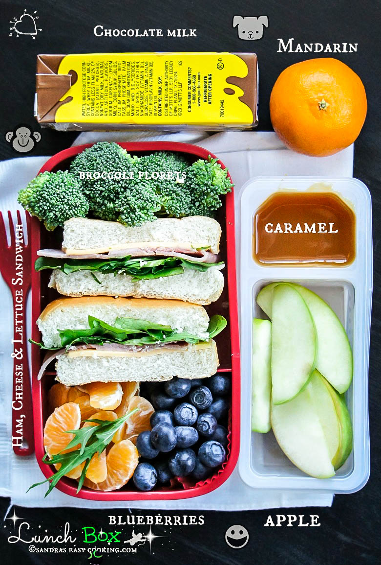 #LunchBox : Ham sandwiches with Fresh Fruits and Veggies #food #recipe