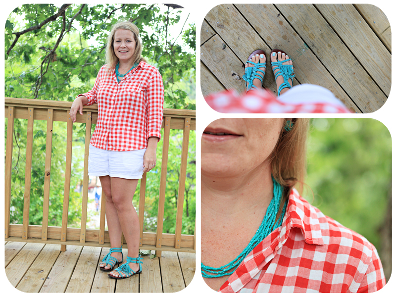 Gap, zappos sandals, white shorts, JCrew, gingham shirt, what i wore wednesday, green shoes, green earrings, ozark folk center,