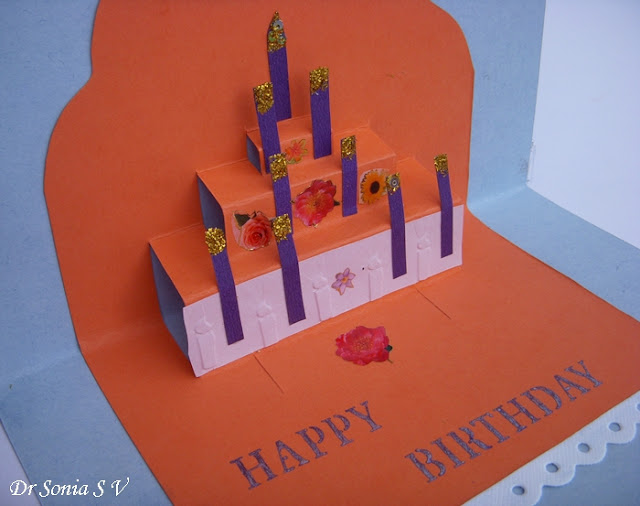 quilling art : quilled princess card and simple pop up cake