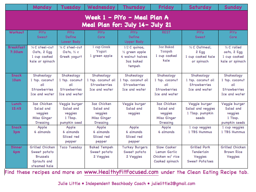 Piyo Meal Plan, Piyo meal plan A, Piyo update and women's progress