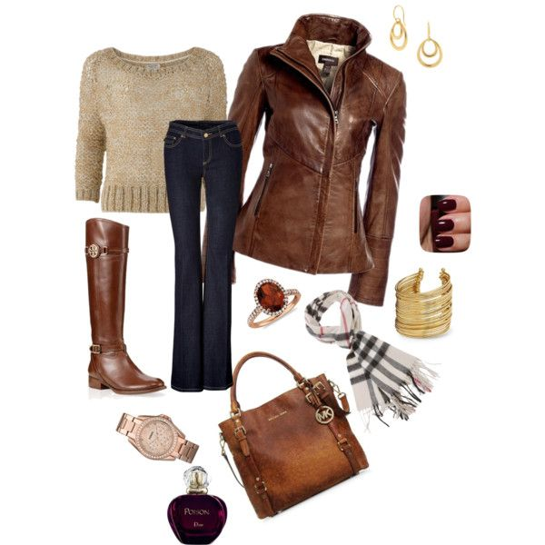 Adorable fall outfit of brown jacket, sweater, jeans, long boots, scarf and hand bag