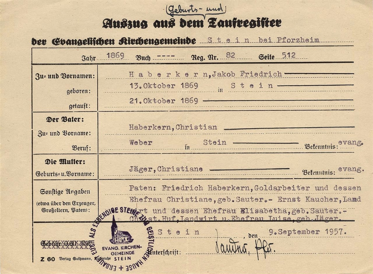 Cubbage genealogy church record sunday german baptismal record extract from the birth and baptismal register 1betcityfo Images