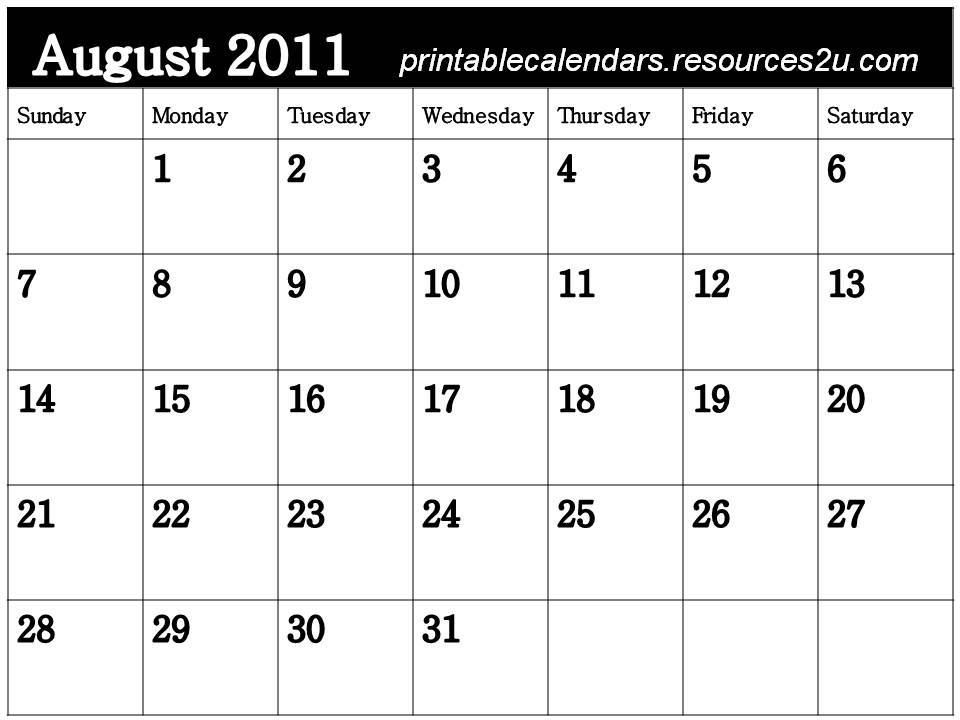 august calendar 2011 printable. Free Calendar 2011 August to